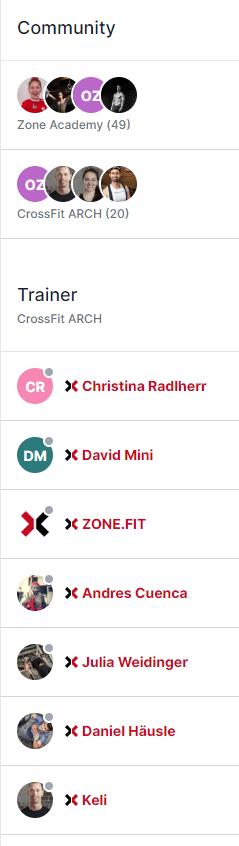 Community Bereich Zone Fit Plattform